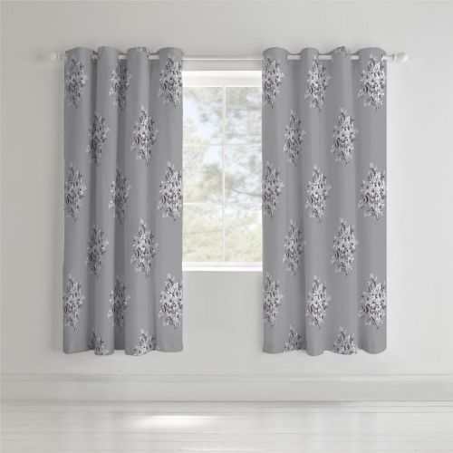 Catherine Lansfield Floral Bouquet Grey Eyelet Curtains